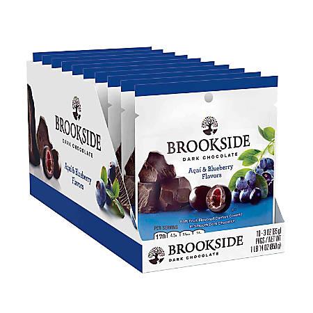 Brookside Acai And Blueberry Dark Chocolate, 3 Oz, Box Of 10 Packs