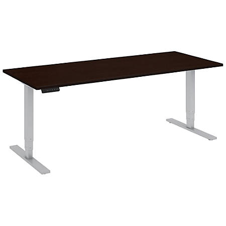 """Bush Business Furniture Move 80 Series 72""""W x 30""""D Height Adjustable Standing Desk, Mocha Cherry/Cool Gray Metallic, Standard Delivery"""