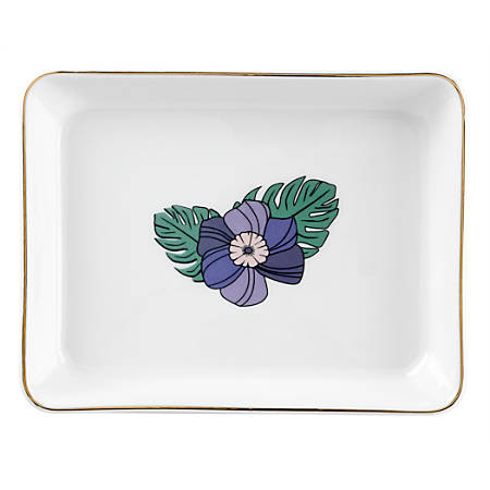 """Office Depot® Brand Floral Trinket Tray, 4-3/4""""H x 6-3/16""""W x 7/8""""D, White/Gold"""