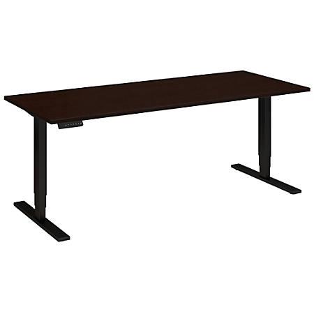 "Bush Business Furniture Move 80 Series 72""W x 30""D Height Adjustable Standing Desk, Mocha Cherry Satin/Black Base, Premium Installation"