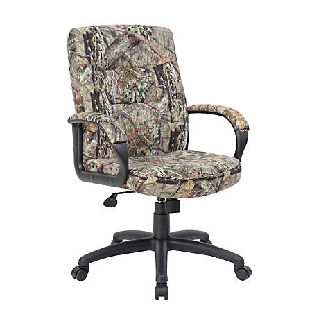 Boss LeatherPlus Mid-Back Chair, Camouflage