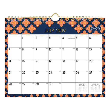 July Calendar 2020.Blue Sky Monthly Wall Calendar 11 X 8 3 4 Finley July 2019 To June 2020 Item 8602044