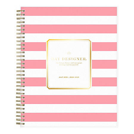 "Day Designer Academic Daily/Monthly New Pink Stripe Planner, 8"" x 10"", July 2019 to June 2020"