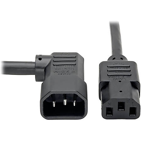 Tripp Lite 6ft Power Cord Extension Cable Right Angle C14 to C13 Heavy Duty 15A 14AWG 6'