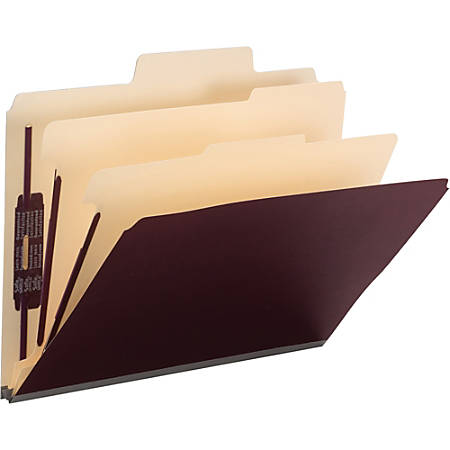 "Smead SuperTab Classification File Folders with SafeSHIELD Fastener - Letter - 8 1/2"" x 11"" Sheet Size - 2"" Expansion - 2S Fastener - 2/5 Tab Cut - Right of Center Tab Location - 2 Divider(s) - Linen - Maroon - Recycled - 10 / Box"