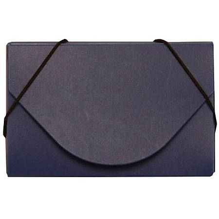 JAM Paper® Business Card Case With Elastic Closure, Navy Blue