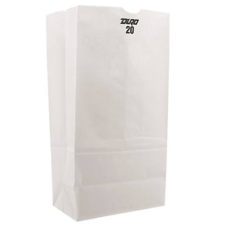 """General Paper Grocery Bags, #20, 16 1/8""""H x 8 1/4""""W x 5 5/16""""D, White, Pack Of 500 Bags"""