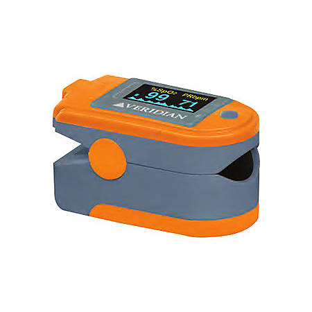 Veridian Healthcare Premium Pulse Ox Fit Pulse Oximeter - Latex-free, PC Connectivity, Alarm, Auto Shutoff, Recording Function - Gray, Orange