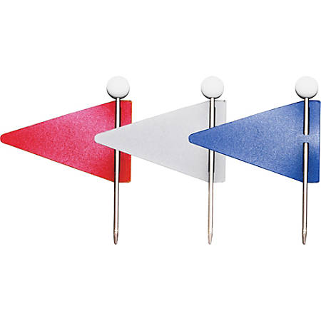 Gem Map Flags, Red, White And Blue, Pack Of 75