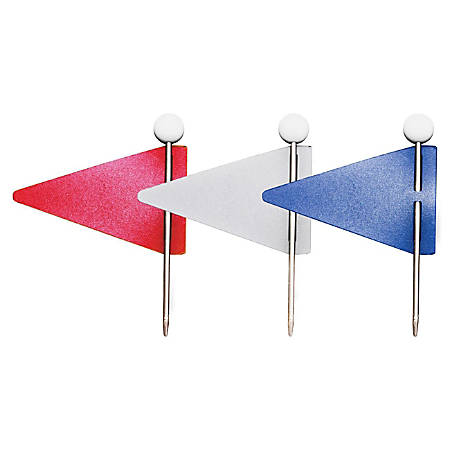 Gem Map Flags Red White And Blue Pack Of By Office Depot OfficeMax - Flag pins for maps