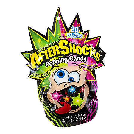 After Shocks Popping Candy, 0.053 Oz, Pack Of 20 Pouches, Box Of 18 Packs