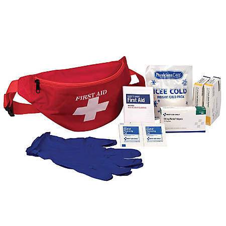 """PhysiciansCare First Aid Kit Fanny Pack, 8.3""""H x 4.3""""W x 4.2""""D, Red"""