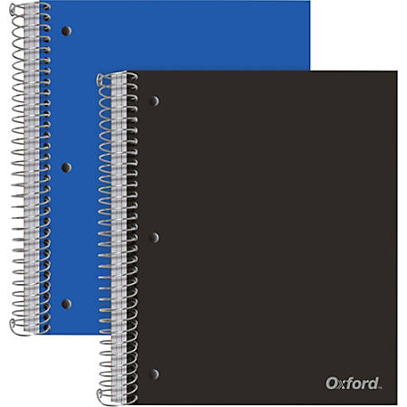 "Oxford 3-Subject Poly Notebook - 150 Sheets - Wire Bound - 3 Hole(s) - 0.5"" x 9""11"" - Pocket Divider, Snag Resistant, Perforated, Moisture Resistant, Resist Bleed-through, Smooth - 2 / Pack"