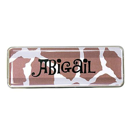 "The Mighty Badge™ Animal Print Name Badge Kit, 1"" x 3"", Giraffe, Pack Of 10"