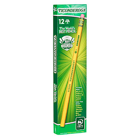Ticonderoga® Wood Case #1 Pencils, B Extra-Soft Lead, Yellow Barrel, Box Of 12