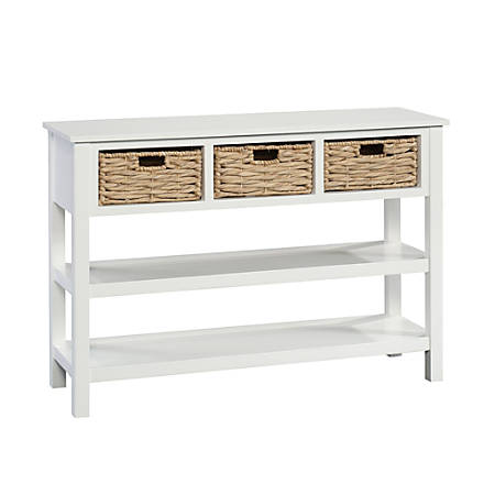 Sauder Cottage Road Console Table With Wicker Baskets 3 Fixed Shelves White Item 8615732