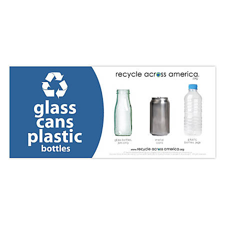 "Recycle Across America Glass, GCP-0409, Cans And Plastics Standardized Recycling Label, 4"" x 9"", Blue"