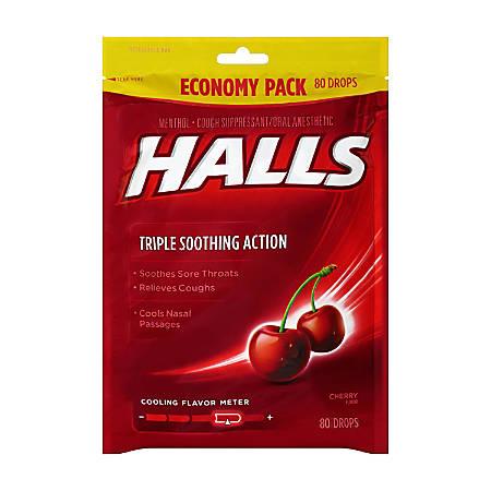 Halls Cherry Cough Drops, 80 Drops Per Pack, Bag Of 2 Packs