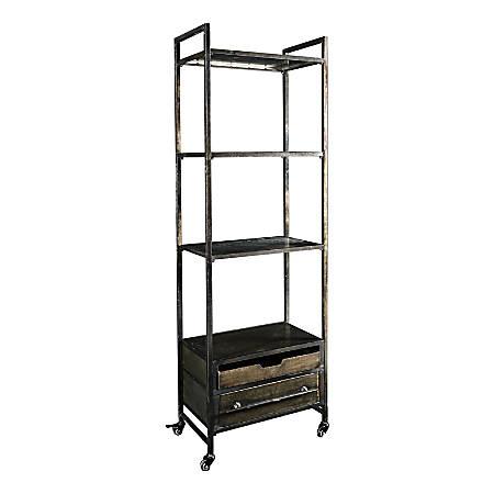 Linon Neva 4-Shelf Metal Bookcase, Brown/Gray