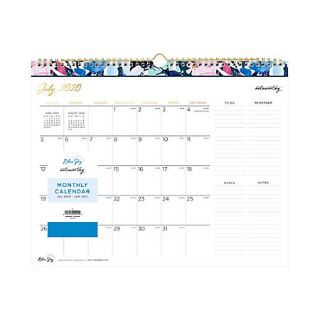 """Blue Sky™ Noteworthy™ Milly Navy Academic Monthly Wall Calendar, 15"""" x 12"""", Multicolor, July 2020 to June 2021, 119015"""