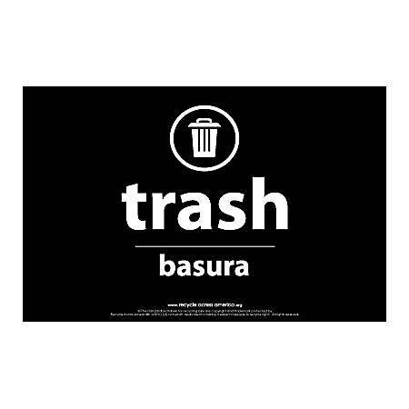 "Recycle Across America Trash Standardized Recycling Labels, TRASH-5585, 5 1/2"" x 8 1/2"", Black"