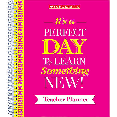 """Scholastic Teacher Inspiration Weekly/Monthly Planner, 9"""" x 11"""", Pink, July to June"""