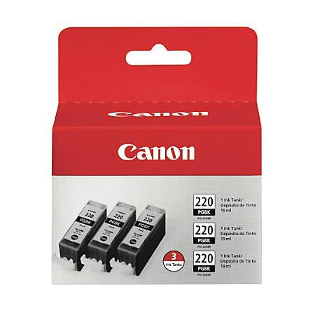 Canon PGI-220 Black Ink Cartridges (2945B004), Pack Of 3