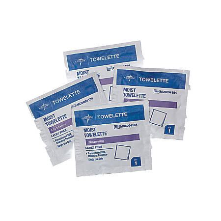 Medline Antiseptic Towelettes, White, 100 Towelettes Per Box, Case Of 10 Boxes