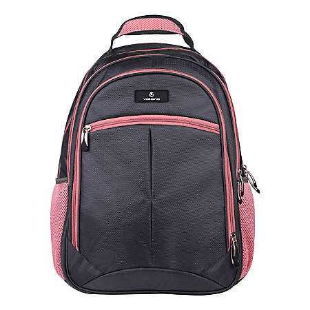 """Volkano Orthopaedic Backpack With 15.6"""" Laptop Compartment, Gray/Pink"""