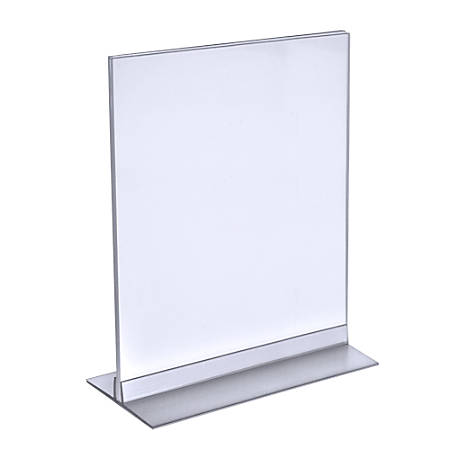 """Azar Displays Acrylic Vertical/Horizontal T-Strip Sign Holders, 9"""" x 12"""", Clear, Pack Of 10"""