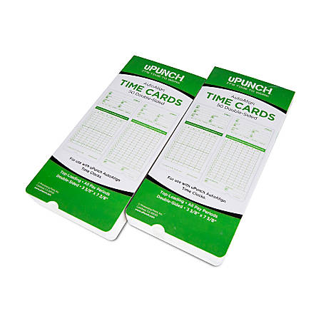 "uPunch All Pay Periods Time Cards, 2-Sided, 3.5"" x 7.5"", Green, Pack Of 100, HNTCG1100"