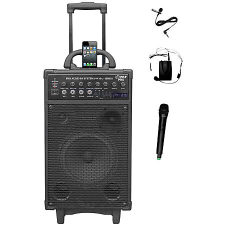 PylePro 800 Watt Dual Channel Wireless Rechageable Portable PA System With iPod/iPhone Dock, FM Radio /USB/SD, Handheld Microphone, and Lavalier Microphone - 800 W Amplifier - Cable, Wireless Microphone - Built-in Amplifier - 2 Audio Line In