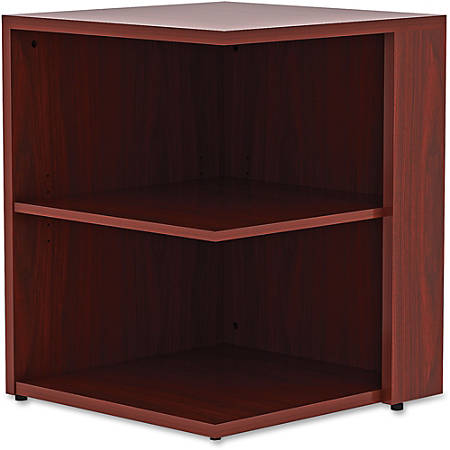 "Lorell® Essentials Series 30""H 2-Shelf Square Bookcase, Mahogany"
