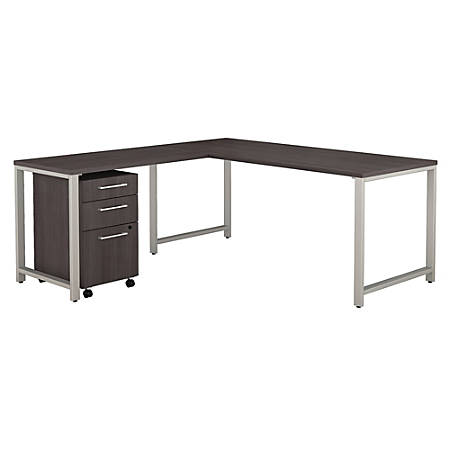 """Bush Business Furniture 400 Series 72""""W x 30""""D L Shaped Desk with 42""""W Return and 3 Drawer Mobile File Cabinet, Storm Gray, Premium Installation"""