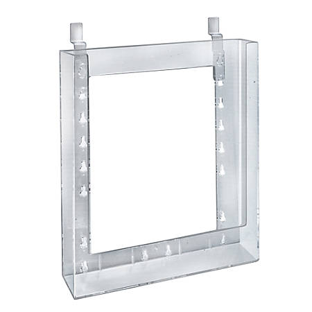 "Azar Displays Styrene Letter-Size Brochure Holders, Slatwall, 11 1/4""H x 9 1/8""W x 1 1/4""D, Clear, Pack Of 10"