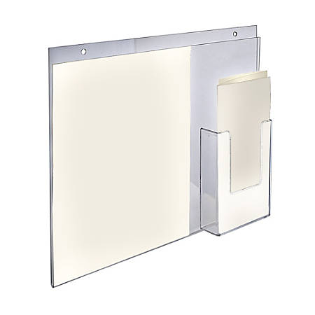 "Azar Displays Wall-Mount Brochure Holders With Trifold Pocket, 11""H x 14""W x 1/4""D, Clear, Pack Of 2 Holders"
