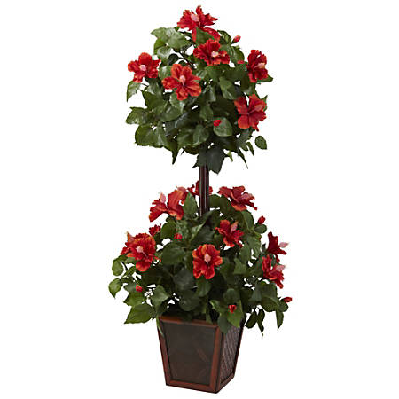 "Nearly Natural 39""H Plastic Double Hibiscus Topiary With Pot"