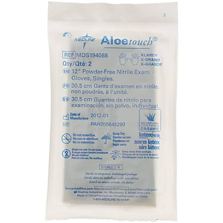 Medline Aloetouch Disposable Powder-Free Nitrile Exam Gloves, X-Large, Green, Pack Of 200