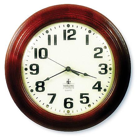 """SKILCRAFT® 12"""" Executive Hardwood Clock, Mahogany Frame (AbilityOne 6645-01-421-6904)"""