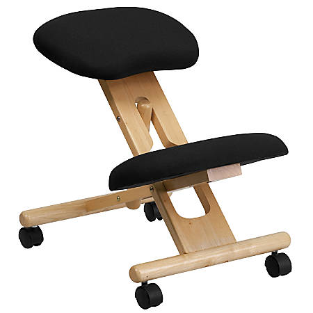Flash Furniture Wood Mobile Ergonomic Kneeling Chair, Black/Brown