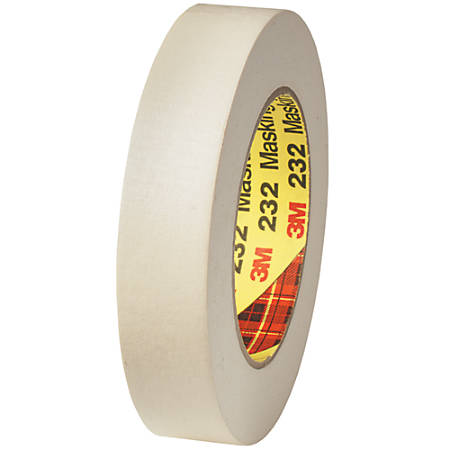 "3M™ 232 Masking Tape, 3"" Core, 1"" x 180', Tan, Case Of 12"