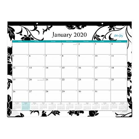 "Blue Sky™ Monthly Desk Pad, 22"" x 17"", Barcelona, January To December 2020, 100014"