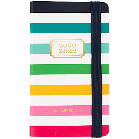 """AT-A-GLANCE® Emily Ley Simplified Happy Stripe Academic 24-Month Planner, 3-1/2"""" x 6"""", Multicolor, July 2020 to June 2022, EL400-021A"""