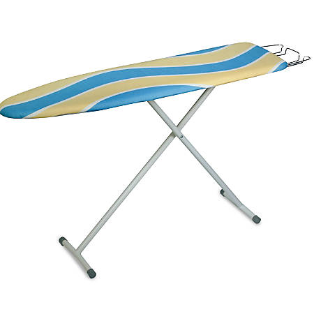 "Honey-Can-Do Deluxe Ironing Board With Iron Rest, 35 5/8""H x 13""W x 13""D, Cool Blue/Yellow"