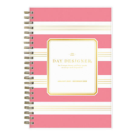 """Blue Sky™ Day Designer Refined Stripe Daily/Monthly Wirebound Planner, 5"""" x 8"""", Pink, January To December 2020"""