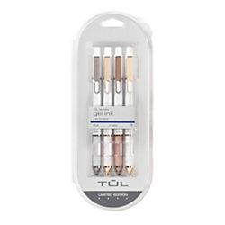 TUL Pearl Pens, Gel, Bullet Point, 0.7 mm, White Barrel, Blue Ink, Pack Of 4 Pens