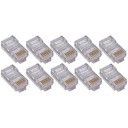 4XEM 50 Pack Cat5E RJ45 Modular Ethernet Plugs for Stranded or Solid CAT5E Cable - 50 Pack Modular RJ45 Ethernet ends for Cat5E stranded or solid CAT5E cable - 1 x RJ-45 Male - Gold-plated Contacts