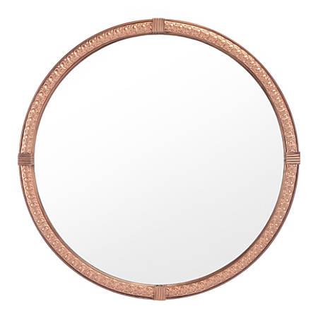 "Zuo Modern Madi Circle Mirror, 23 5/8""H x 23 5/8""W x 2""D, Brown"