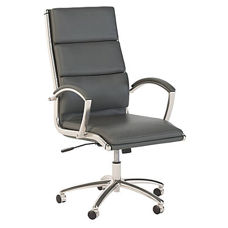 Bush Business Furniture Modelo High Back Leather Office Chair, Dark Gray, Premium Installation