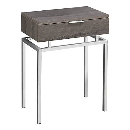 Monarch Specialties Accent Table, Rectangular, Dark Taupe/Chrome